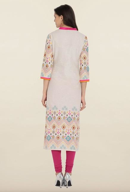 Soch White Embroidered Linen Kurta