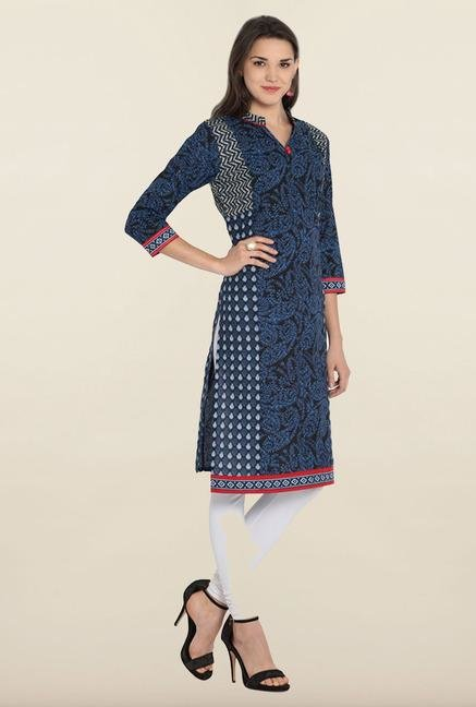 Soch Indigo & Black Embroidered Cotton Kurta