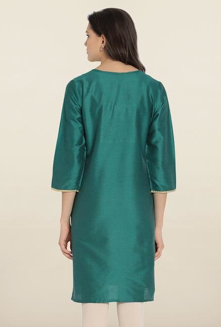 Soch Green Embroidered Silk Kurta