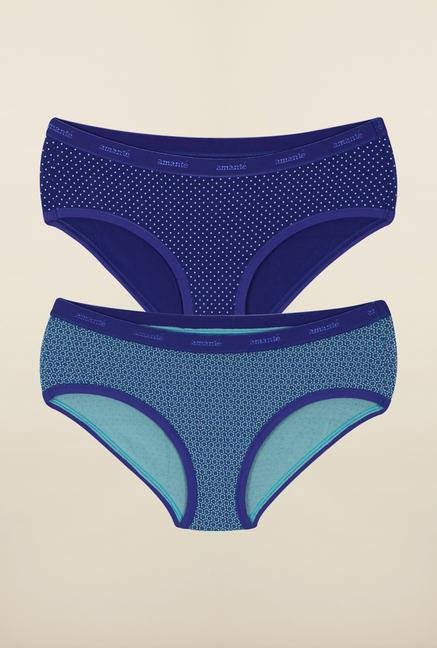 Amante Blue Printed Hipster Panties (Pack Of 2)