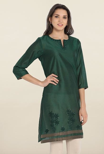 Soch Green Embroidered Cotton Kurta