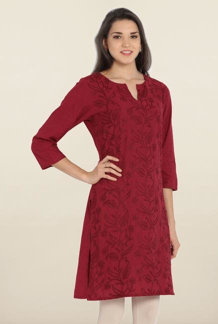 Soch Dark Red Embroidered Cotton Kurta