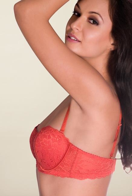 Amante Orange Lace Padded Balconette Bra