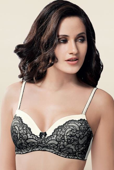 Amante Black & White Padded Non Wired Lace Bra