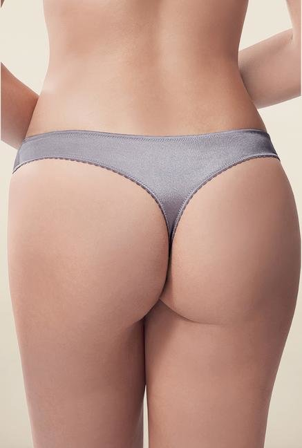 Amante Grey Embellished Low Rise Thong