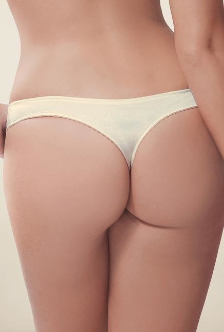 Amante Off White Embellished Low Rise Thong