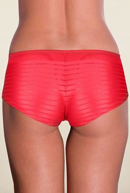 Amante Red Striped Boyshort