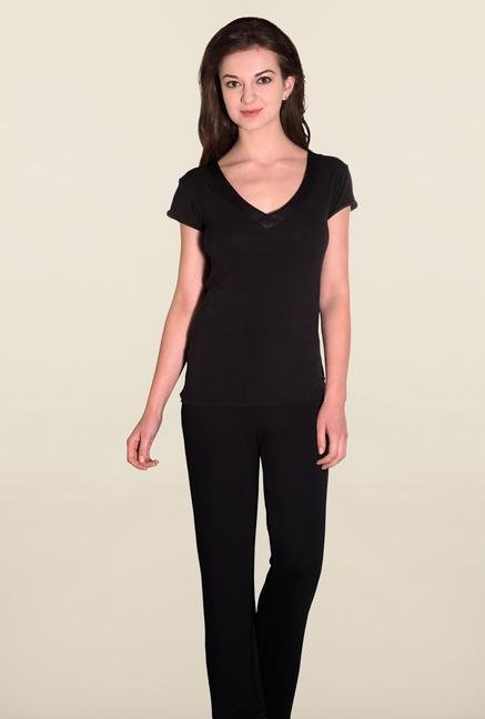 Amante Black Solid Sleep Tees