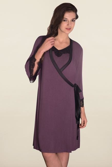 Amante Purple Solid Robe