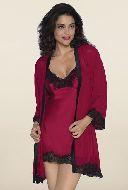 Amante Red Solid Robe