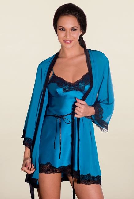 Amante Turquoise Solid Robe