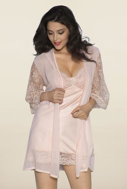 Amante Peach Lace Robe