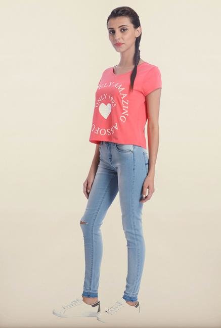 Only Coral Printed T-Shirt