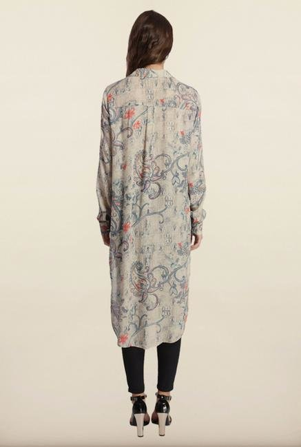 Only Grey Paisley Print Long Shirt