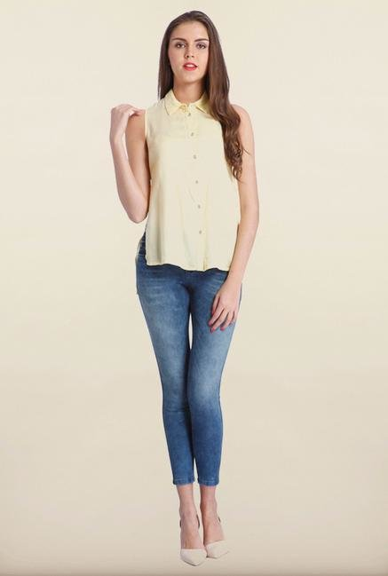 Only Yellow Solid Casual Shirt