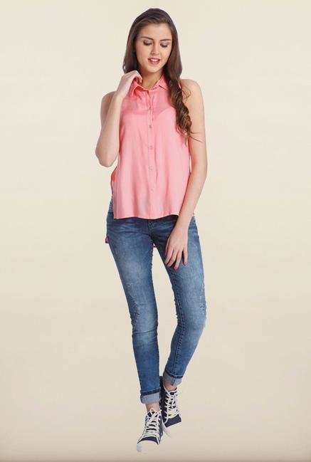 Only Pink Solid Casual Shirt