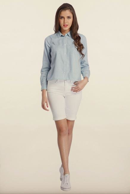 Only Denim Light Blue Striped Casual Shirt