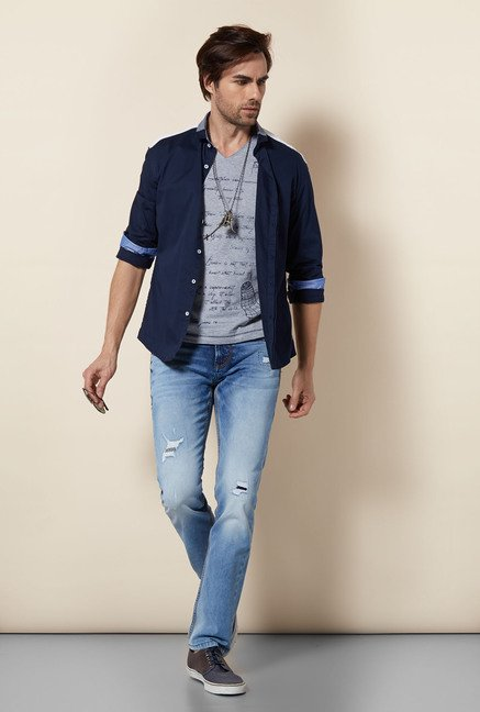 Killer Navy Slim Fit Casual Shirt