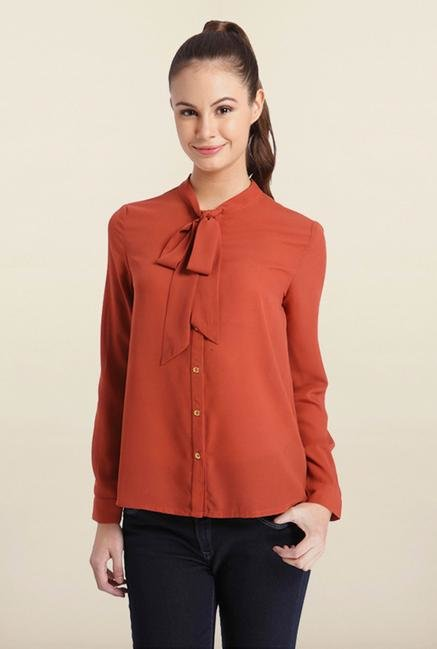 Only Red Tie-Neck Solid Shirt