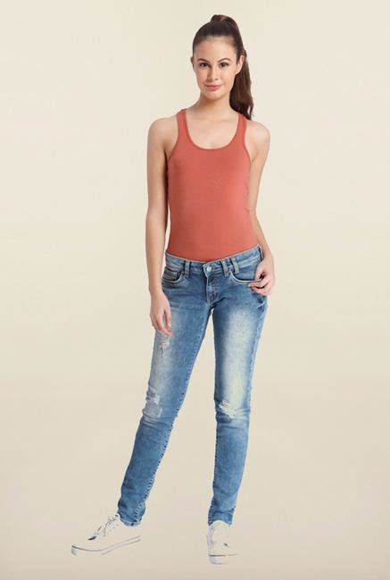 Only Blue Mid Rise Skinny Fit Jeans