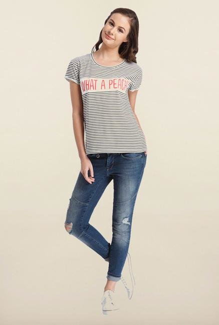 Only White Striped T-Shirt