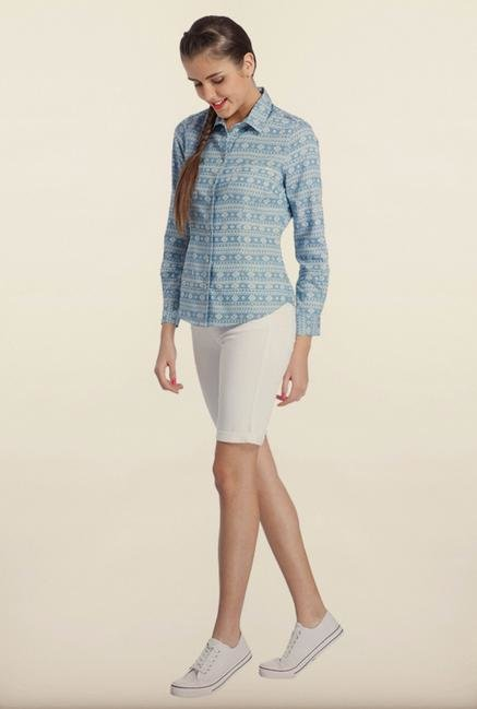 Only Denim Blue Printed Casual Shirt