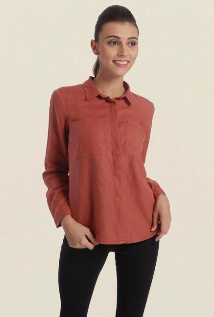 Only Marsala Solid Casual Shirt