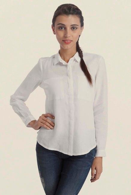 Only White Solid Casual Shirt