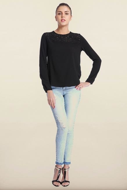 Only Black Self Design Lace Top