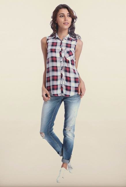 Only White & Red Checked Casual Shirt