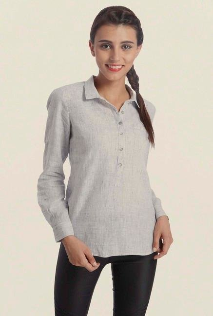 Only White Pin Striped Casual Shirt