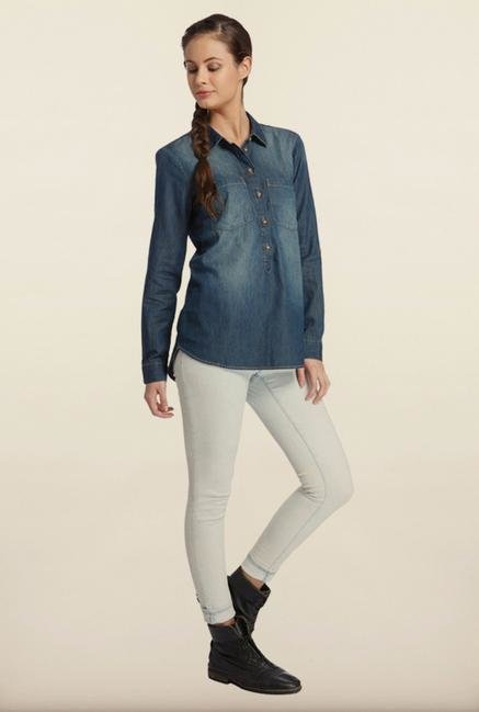 Only Denim Blue Solid Casual Shirt
