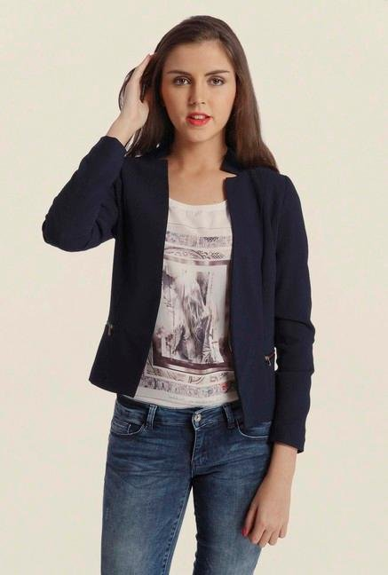 Only Dark Blue Solid Casual Blazer