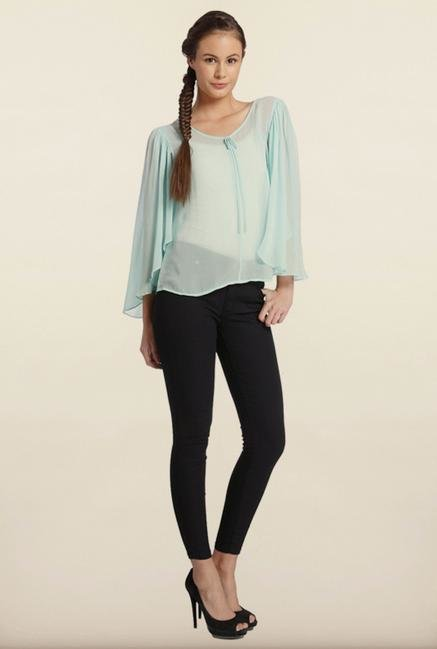 Only Blue Kimono Sleeve Solid Top