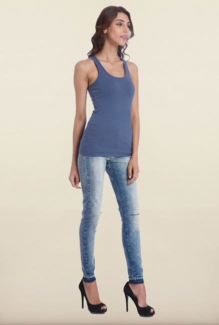 Only Indigo Solid Tank Top