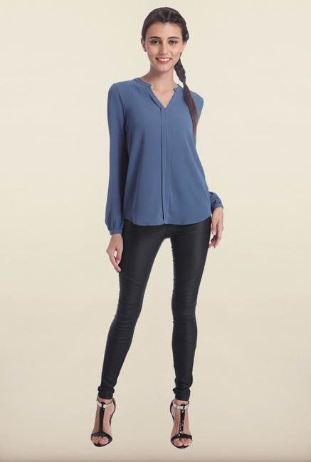 Only Indigo Blue Solid Top