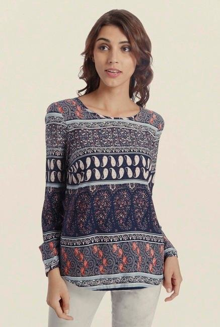 Only Navy Paisley Print Top