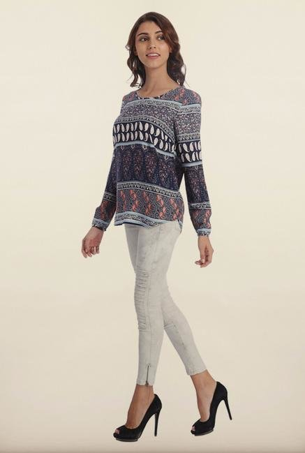 Only Blue Paisley Print Top