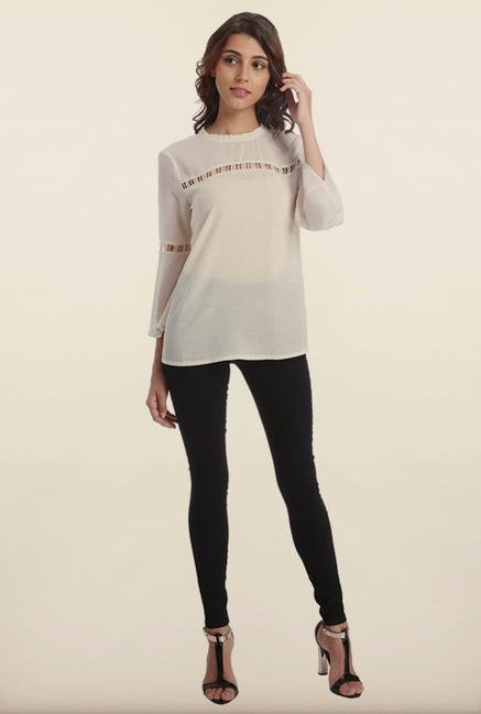 Only White Solid Casual Top