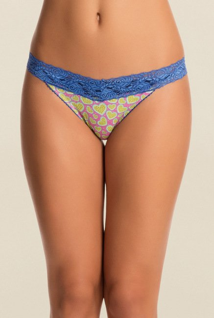 Pretty Secrets Pink & Blue Printed Thong Panties (Pack Of 2)