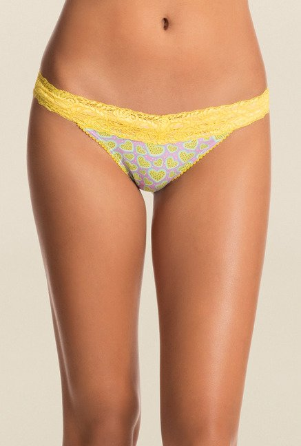 Pretty Secrets Purple & Yellow Thong Panties (Pack Of 2)