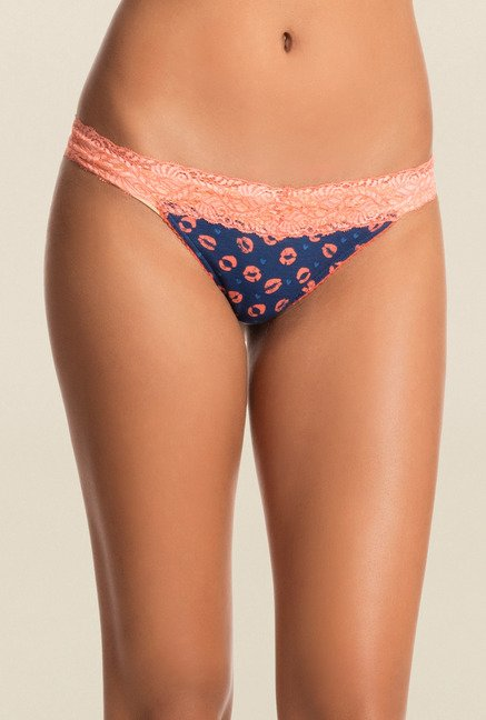 Pretty Secrets Navy & Yellow Thong Panties (Pack Of 2)
