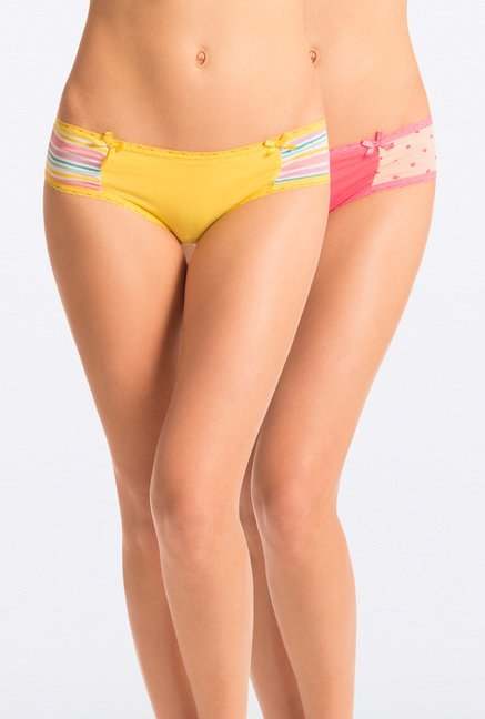 Pretty Secrets Pink & Yellow Hipster Panties (Pack Of 2)