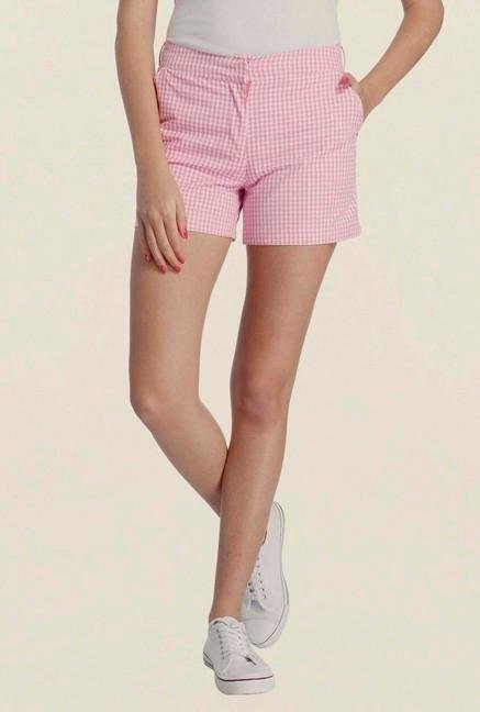 Only Pink Checked Casual Shorts