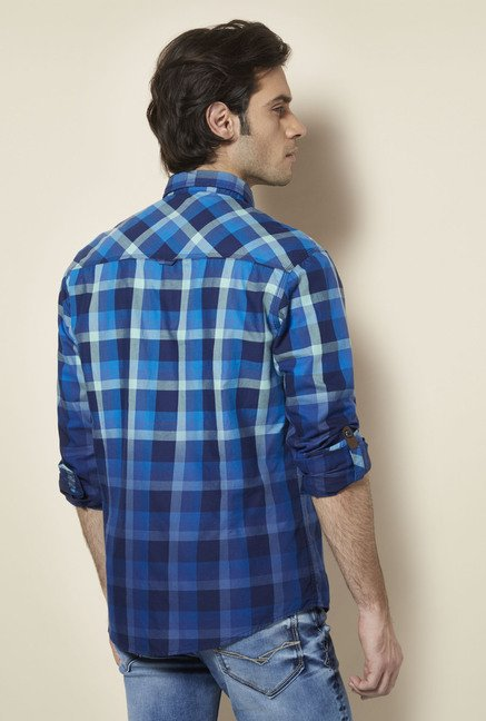 Killer Blue Checked Casual Shirt