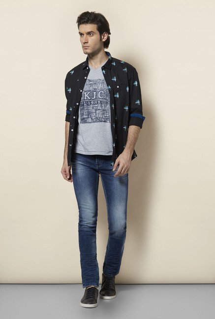 Killer Black Printed Casual Shirt