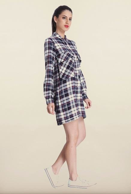 Only Navy Checked Playsuit