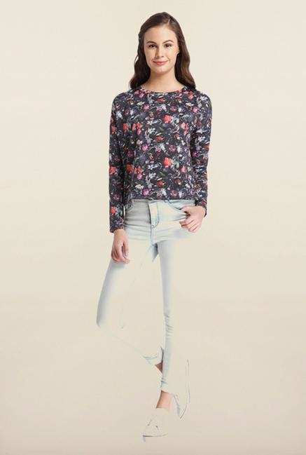 Only Black Floral Printed Top