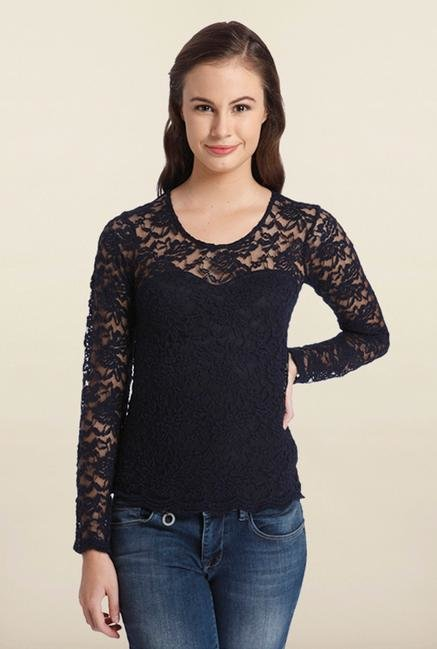 Only Navy Blue Crochet Top