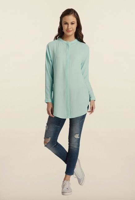 Only Sea Green Solid Tunic Top